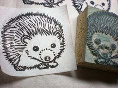 "Hedgehog Stamp - 2"" x 2""  Hand Carved Linoleum Block - Made to Order"
