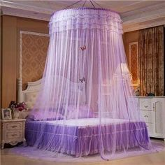 New Design Hung Dome Mosquito Net Princess Insect Bed Canopy Netting Lace Round Mosquito Nets With Luminous Butterfly