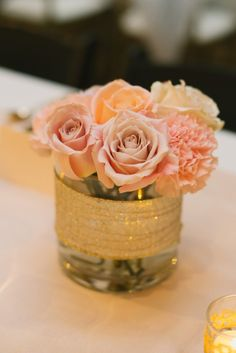 Romantic Rose Gold Seattle Wedding from  GH Kim Photography - wedding centerpiece idea