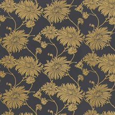 Kimono wallpaper from Laura Ashley  Opulent and dark, with a golden floral pattern, this wallpaper has the feel of decorative lacquered Japanese cabinetry.