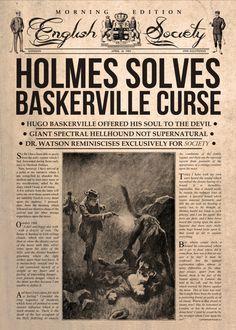 Holmes Solves Baskerville Curs by Mr Zero Vintage Newspaper, Vintage Paper, Penny Dreadful, Poster Sherlock, Sherlock Holmes Book, Adventures Of Sherlock Holmes, Enola Holmes, Room Posters, Print Artist