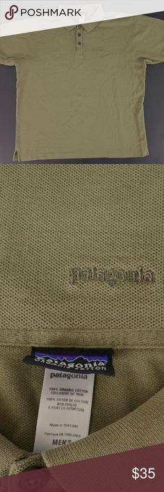 Olive Green Organic Cotton Polo Shirt Mens Large For sale is a 100% organic cotton shirt from Patagonia. Shirt is in excellent condition. The color is a brownish/olive green.   Size: L Measurements are in the pictures.   I will ship your item within 24 hours  Thank you Patagonia Shirts Polos