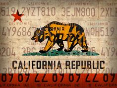 California State Flag Recycled Vintage License Plate Art Mixed Media