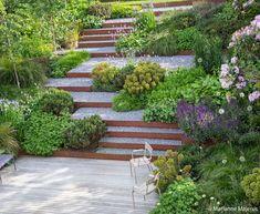 Steep Backyard, Sloped Backyard Landscaping, Terraced Landscaping, Terraced Backyard, Landscaping On A Hill, Sloped Garden, Steep Gardens, Back Gardens, Outdoor Gardens