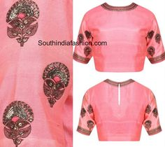 Simple Raw Silk Embroidered Blouse Designs photo