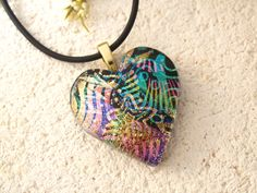 Glass Heart Necklace- Dichroic Jewelry - Blue Green Gold - Gold Necklace - Pendant - Dichroic Glass Jewelry - Fused Glass Jewelry 090514p112 by ccvalenzo on Etsy