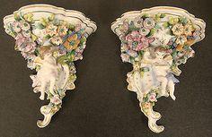 Pair-Sitzendorf-Porcelain-Mantle-Mounts-Wall-Brackets-Plaque-c1887-cherubs-putti