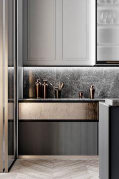How to put your kitchen credenza? Kitchen Buffet, Kitchen Chairs, Home Decor Kitchen, Interior Design Kitchen, Kitchen Modern, Kitchen Living, Living Room, Küchen Design, Layout Design