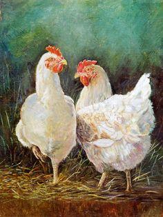 Morning Chatter by Anne-Karine Thoresen Oil ~ 14 x 11 Chicken Drawing, Chicken Painting, Chicken Art, Rooster Painting, Rooster Art, Farmhouse Paintings, Chicken And Cow, Chicken Pictures, Chickens And Roosters
