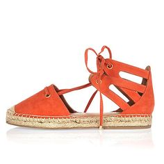 Orange tie-up espadrille sandals