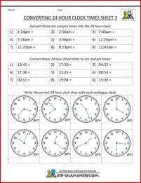 Convert 24 hour to 12 hour clock sheet 1 | Math Teaching Ideas ...