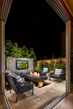 Catch up on your favorite show while enjoying the nighttime air at Gale Ranch… Outdoor Living Patios, Outdoor Rooms, Outdoor Gardens, Outdoor Furniture Sets, Outdoor Decor, Outdoor Ideas, Outdoor Decking, Outdoor Retreat, Outdoor Kitchens
