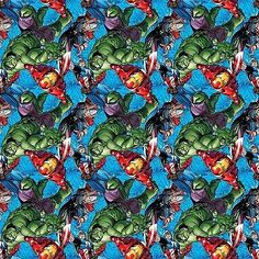Marvel Avengers Characters toss Cotton print Sold by the yard X 44inches