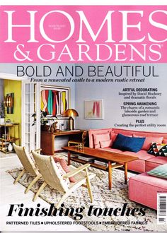 Beaumont & Fletcher's Brummell footstool featuring in the March issue of Homes & Gardens magazine 2017 Footstool Coffee Table, Lakeside Garden, Upholstered Footstool, Stunning Photography, Paint Cans, Tile Patterns, Colour Schemes, Modern Rustic, Contemporary Style