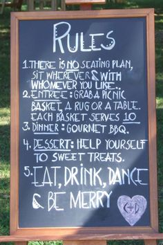 Gourmet picnic wedding... Love this idea...