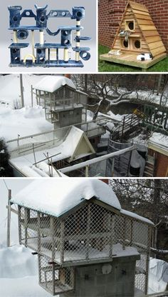 Outdoor screened complex for your cat.