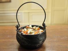 Dollhouse Miniature Beef Stew in a Black Kettle w Ladle