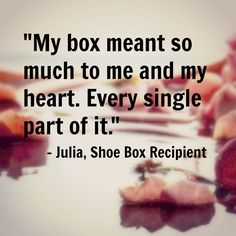 """Julia was born in Ukraine into a family full of poverty, pain & addiction. One day, children in Julia's church received brightly colored shoeboxes from OCC. Julia not only got a gift that day, but finally something to call her own. In her box she found candy, make-up, jewelry and other girl items. Julia began dreaming of moving to the USA. She would save her candy wrappers because they said """"Made in USA"""" which gave her hope of a safe place."""