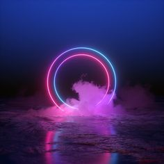 3d render, abstract background, round portal, pink blue neon lights,...