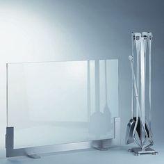 Accessoires de cheminée parefeu serviteur de design contemporain inox brossé et verre Saegi pour KRD