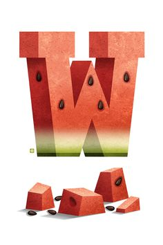 Delicious Drop Cap No.12: W is for Watermelon