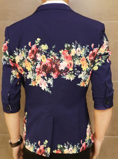 Art Floral Print Navy Blue In Style Short Sleeve Blazer