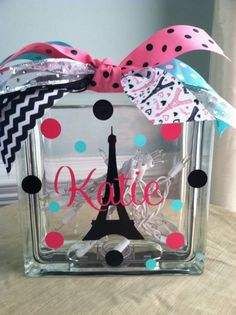 Personalized Paris Eiffel Tower Glass Block by LuLuBeanDesignCo, $24.99