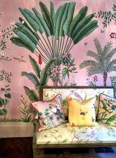 pink and green floral wallpaper. / sfgirlbybay