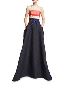 "Carolina Herrera tricolor woven ball gown. Approx. 65""L down center back. Straight-cut strapless neckline. Fitted bodice; full, pleated sweeping skirt. Floral-embellished Empire waist. Self-tie skinny"