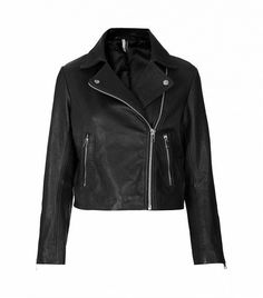 @Who What Wear - Topshop Boxy Leather Biker Jacket ($370) in Black