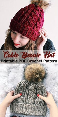 Winter Hat Crochet Patterns - cozy beanie - crochet hat pattern - crochet beanie pattern - A More Crafty Life Crochet Adult Hat, Bonnet Crochet, Crochet Winter Hats, Crochet Cable, Crochet Beanie Pattern, Free Crochet, Cable Knit Hat, Diy Crochet Hat, Crochet Cozy