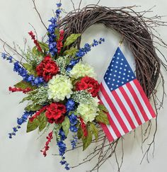 Americana Wreath Patriotic Wreath 4th Of July Wreath Flag