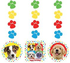 Puppy Paw-ty Time Hanging Cutout : These cute hanging decorations are just right if you are holding a Puppy Dog Themed party, perfect for a birthday party. per set) cm long assort. Paw Patrol Birthday Theme, Paw Patrol Party, Puppy Birthday Parties, Dog Birthday, Happy Birthday, Puppy Party Supplies, Betty Boop Dog, Cheap Dog Clothes, Designer Dog Clothes