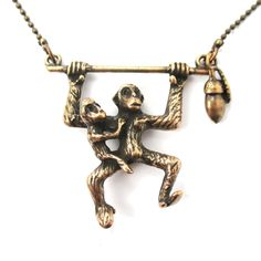 3D Monkey Mother and Baby Shaped Animal Pendant Necklace in Bronze $11.50 #monkeys #animals #jewelry #necklaces #pendants #safari