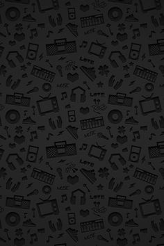 Music shapes in pattern on black. #music #patterns http://www.pinterest.com/TheHitman14/music-patterns-%2B/