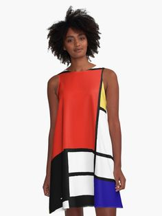 Mondrian was a contributor to the De Stijl art movement and group, which was founded by Theo van Doesburg. He evolved a non-representational form which he termed neoplasticism. This consisted of white ground, upon which he painted a grid of vertical and horizontal black lines and the three primary colors. Wear his awesome insipred style fashion! • Also buy this artwork on apparel, stickers, phone cases, and more.
