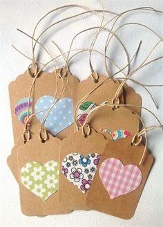 This listing is for a set of 10kraft handmade gift tags, with a fabric heart attached. The hearts are all from different fabrics, in bright colors.  Back of tag is blank. Hemp twine is included (aprox. 25cm - 9,8in for each tag), but not attached to the tags.  Size of tags - 7,1x4,5cm (aprox. 2,8x1 1/4in).  Colours may look different in different monitors.  They are ready made and will be shipped in 1-2 business days.