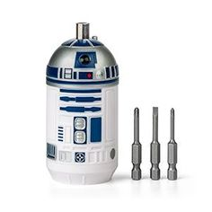 This Star Wars R2-D2 Screwdriver set includes 3 forged steel bits: 1 slotted and 2 Phillips-head.