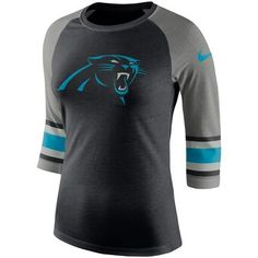 The Nike Tri-Blend Raglan (NFL Panthers) Women's T-Shirt features bold team details on super-soft fabric. Nfl T Shirts, Rock Shirts, Raglan, Carolina Panthers Shirt, Nikes Negros, Nike Noir, Panthers Team, Carolina Pride, North Carolina