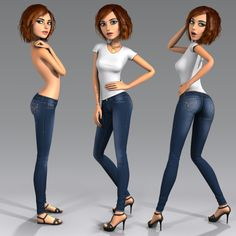 3ds max cartoon character young woman - Angie - Cartoon girl - Rigged... by dmk76