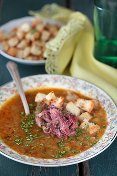 Russian Monday: Yellow Split Pea Soup with Smoked Ham Shank - Gorochovy Soup at Cooking Melangery Soup Recipes, Recipies, Cooking Recipes, Ham Shank, Yellow Split Pea Soup, Eastern European Recipes, Russian Winter, Smoked Ham, Russian Recipes
