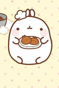 Chef Molang here! Ready to serve you some homemade cookies! Chibi Kawaii, Kawaii Bunny, Kawaii Faces, Cute Chibi, Kawaii Cute, Cute Bunny, Cute Backgrounds, Cute Wallpapers, Kawaii Drawings