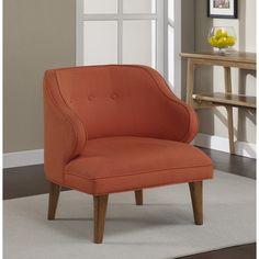 Curved Rust Upholstered Retro Arm Chair - Overstock™ Shopping - Great Deals on Living Room Chairs