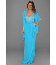 NWT - Badgley Mischka Gown With Shawl Turquoise Sleeveless Silk Dress Size: 6 #BadgleyMischka #Gown #Formal