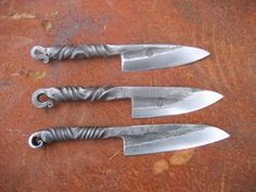 Hand made local knives from Portland blacksmith:  single-bevel, one-piece hand-forged carbon steel blades