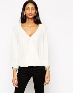 Lipsy Wrap Front Blouse With Cuff Detail