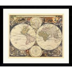 Amanti Art New World Map, 17th Century Framed Art Print by Ria Visscher