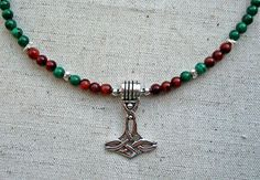 Sterling Silver Thor's Hammer / Mjolnir Pendant with Genuine Malachite, Red Tigers Eye and Hill Tribe Silver by AuroraGemBoutique