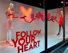 "INSPIRATION FROM ALL AROUND THE WORLD: FOLLOW YOUR HEART 1. Selfridges, Oxford Street, London  Selfridges have collaborated with ten current musicians and asked them to visualise their hit songs in 3 dimensions. This one is Florence and the Machine: 'Cosmic Love' .2. MACY'S, SF, USA, ""Follow Your Heart"" , by Windows of Jake3. Nanette Lepore - Neon Yellow window display4. Macy's, New York5. Macy's, New York6. store Lane Crawford - China"