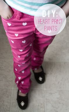 Silhouette America Blog   Spring Re-fashion :: DIY Heart Pants - stencil & fabric ink project